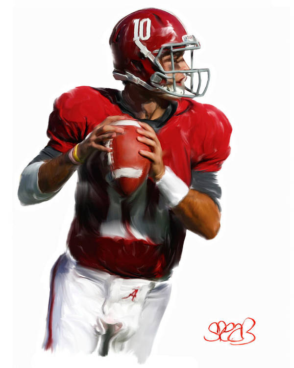 Alabama Football Poster featuring the painting Number 10 by Mark Spears