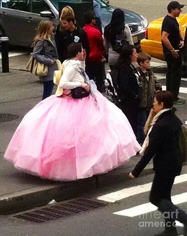 Pink Ball Gown Poster featuring the photograph Nyc Ball Gown Walk by Susan Garren