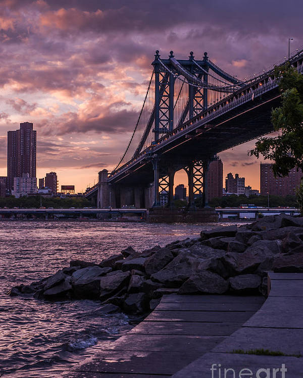 Nyc Poster featuring the photograph Nyc- Manhatten Bridge At Night by Hannes Cmarits