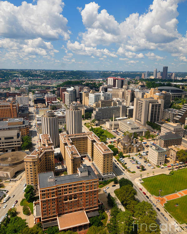 Aerial View Poster featuring the photograph Oakland Pitt Campus With City Of Pittsburgh In The Distance by Amy Cicconi
