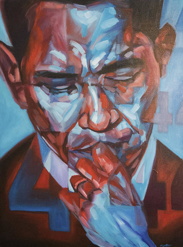 President Barack Hussein Obama 44 Forty-fourth President Of The United States Presidential Portrait America Poster featuring the painting Obama 44 by Steve Hunter