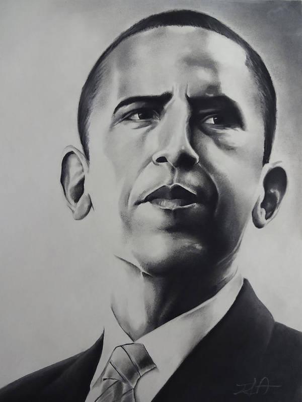 Obama President Barack Black White Social First Poster featuring the pastel Obama by Idorenyin Sam Awak