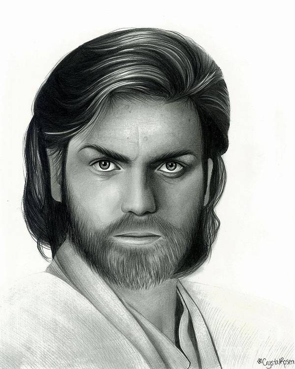 Obi Wan Kenobi Poster featuring the drawing Obi Wan Kenobi by Crystal Rosene