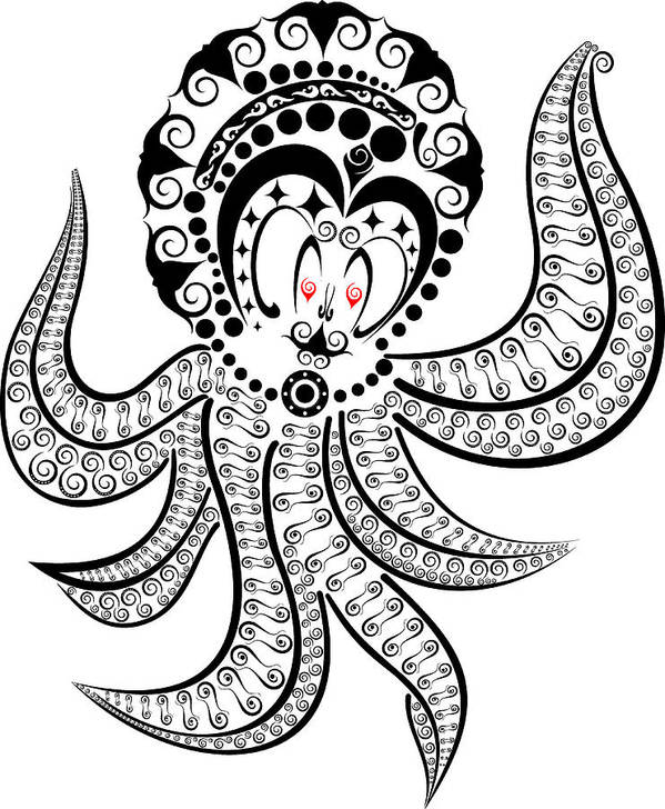 Octopus Poster featuring the digital art Octopus by Murni Ch