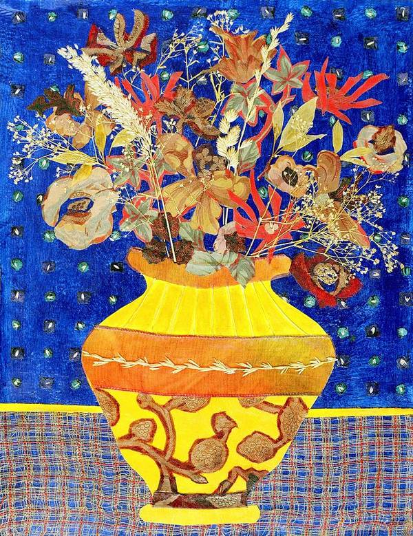 Flowers In A Vase Poster featuring the mixed media Ode To A Grecian Urn by Diane Fine