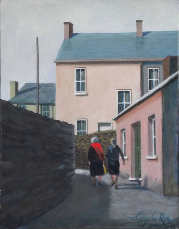 Landscape Poster featuring the painting Off To The Shops by Christopher Roe