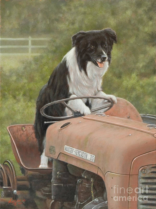 Dog Paintings Poster featuring the painting Off To Work II by John Silver