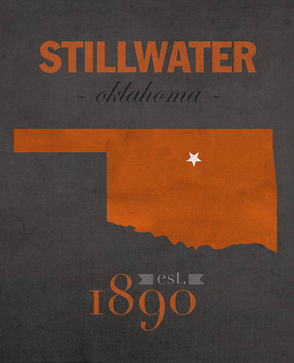 Oklahoma State University Cowboys Stillwater College Town State Map