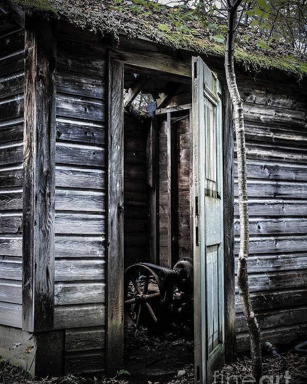 Sinister Poster featuring the photograph Old Abandoned Well House With Door Ajar by Edward Fielding