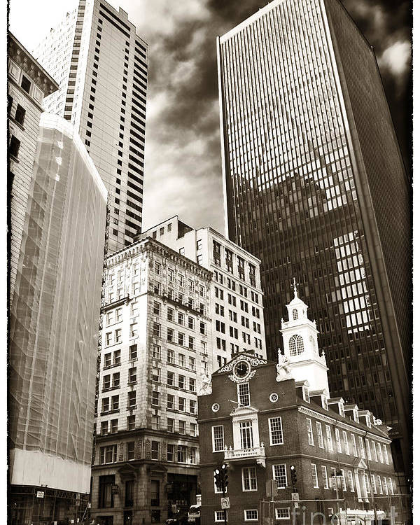 Old And New In Boston Poster featuring the photograph Old And New In Boston by John Rizzuto