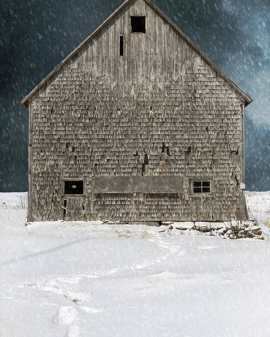 Old Barn Poster featuring the photograph Old Barn In A Snow Storm by Edward Fielding
