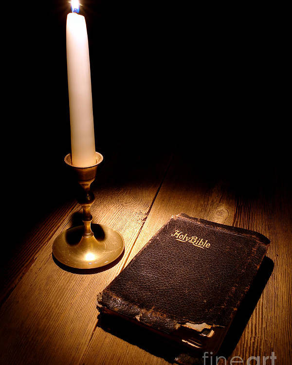 Bible Poster featuring the photograph Old Bible And Candle by Olivier Le Queinec