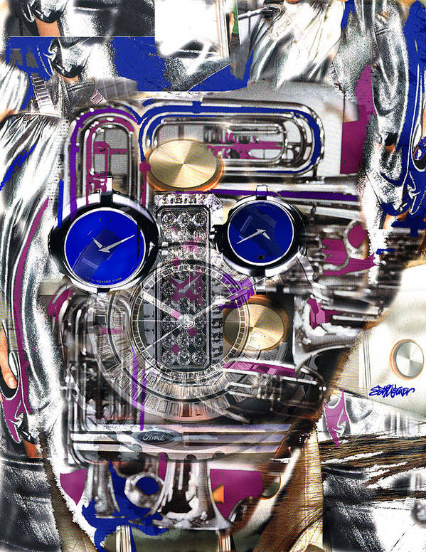 Robotic Time Traveller Poster featuring the digital art Old Blue Eyes by Seth Weaver