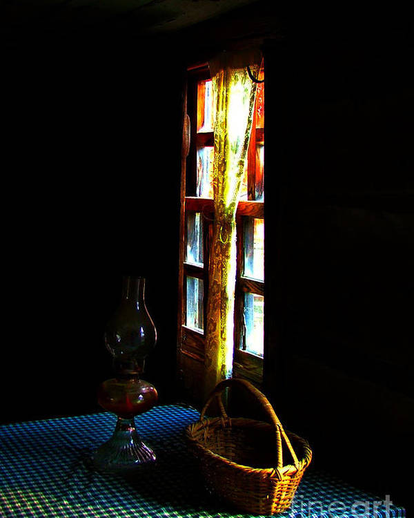 Cabin Poster featuring the photograph Old Cabin Table With Lamp And Basket by Julie Dant