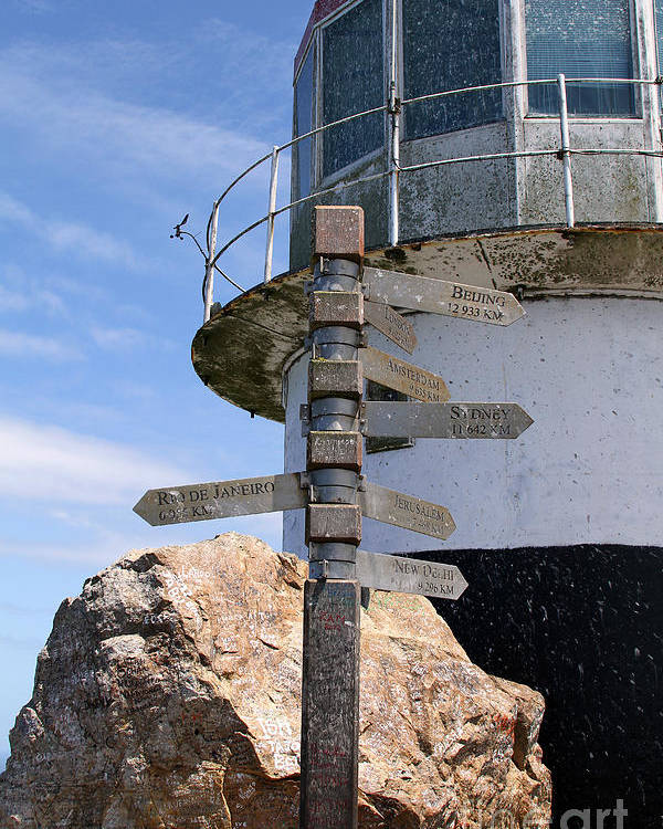 Cape Point Poster featuring the photograph Old Cape Point Lighthouse In South Africa by Catherine Sherman