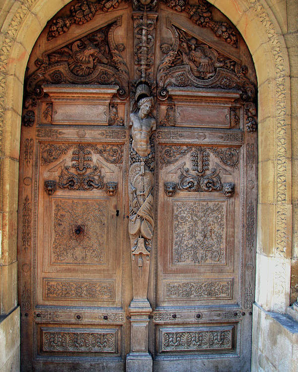 Door Poster featuring the photograph Old Carved Church Door by Christiane Schulze Art And Photography
