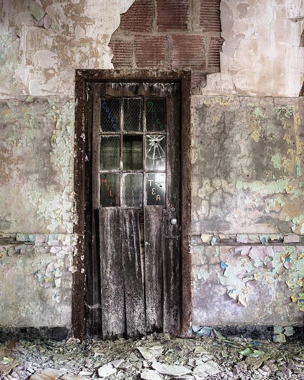 Old Door Poster featuring the photograph Old Door - Abandoned Building - Tea by Gary Heller