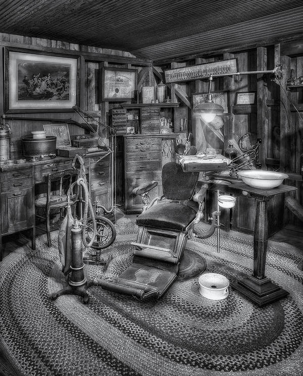 America Poster featuring the photograph Old Fashioned Dentist Office Bw by Susan Candelario