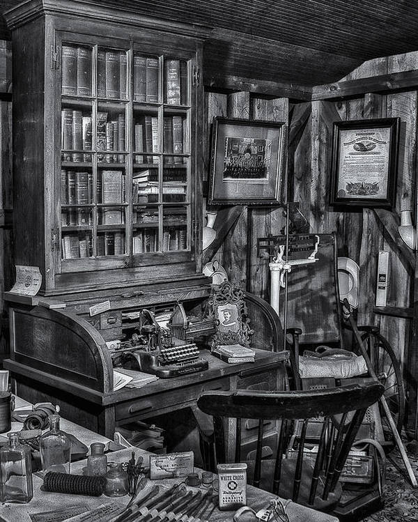 Dr. Poster featuring the photograph Old Fashioned Doctor's Office Bw by Susan Candelario