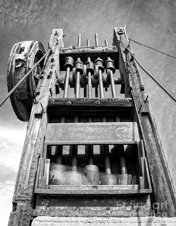 Leecraig Poster featuring the photograph Old Gold Mine Technology In Black And White by Lee Craig