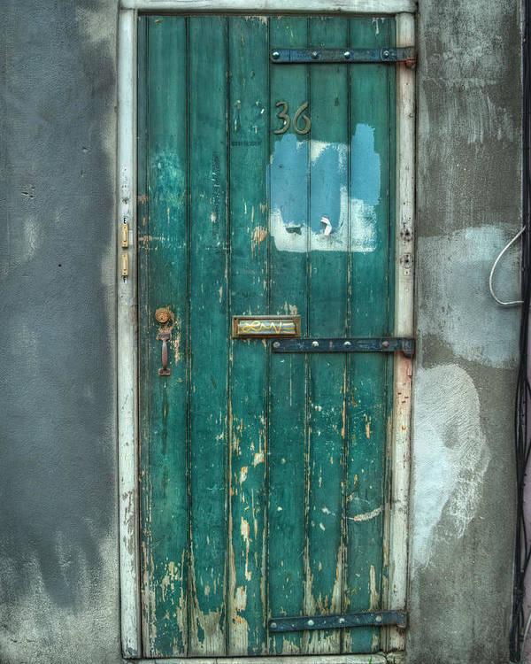 Door Poster featuring the photograph Old Green Door In Quarter by Brenda Bryant