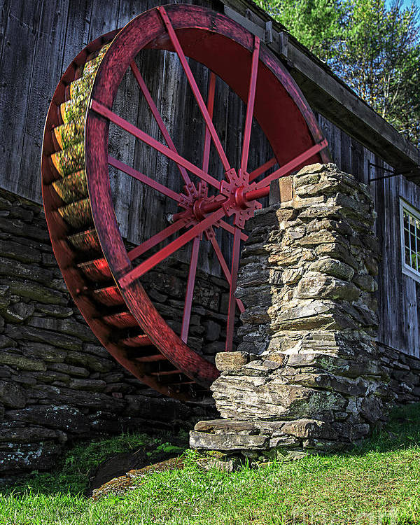 Wheel Poster featuring the photograph Old Grist Mill Vermont by Edward Fielding