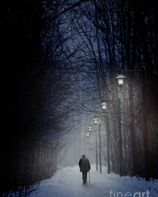 Atmosphere Poster featuring the photograph Old Man Walking On Snowy Winter Path At Night by Sandra Cunningham