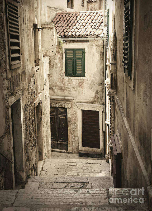 Alley Poster featuring the photograph Old Medieval Alley by Mythja Photography