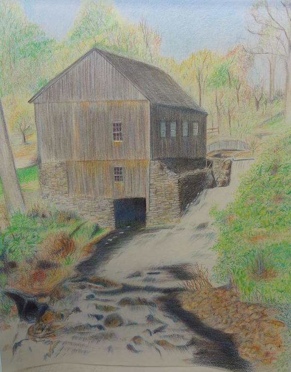 Old Mill Landscape Country Water Stream Rocks Poster featuring the drawing Old Mill by Peggy Clark