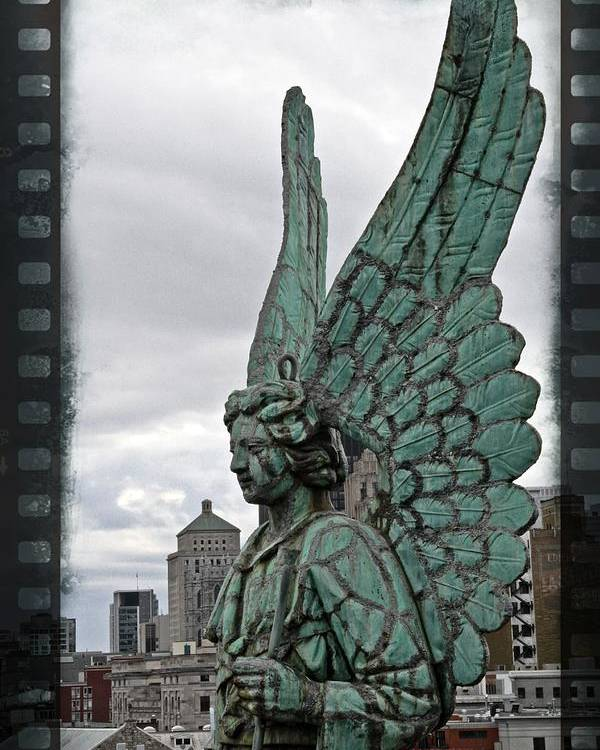 Angel Montreal Filmstrip Lorder Statue Canada Poster featuring the photograph Old Montreal Angel Filmstrip by Alice Gipson