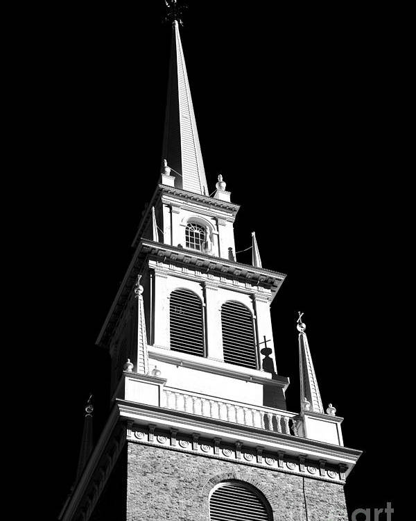 Old North Church Star Poster featuring the photograph Old North Church Star by John Rizzuto