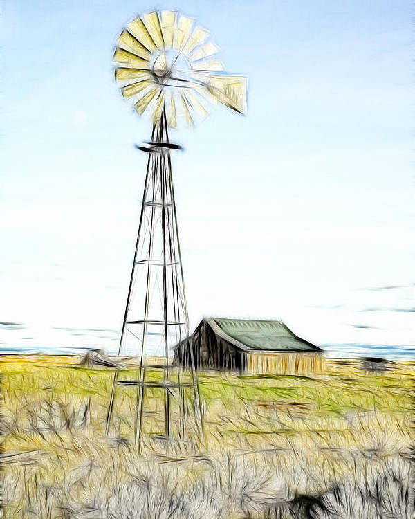 Cabin Poster featuring the photograph Old Ranch Windmill by Steve McKinzie
