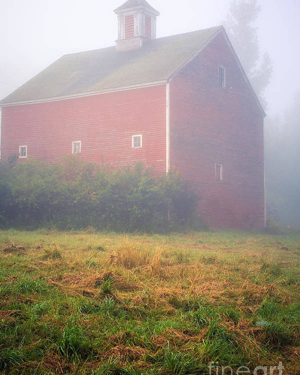Mist Poster featuring the photograph Old Red Barn In Fog by Edward Fielding