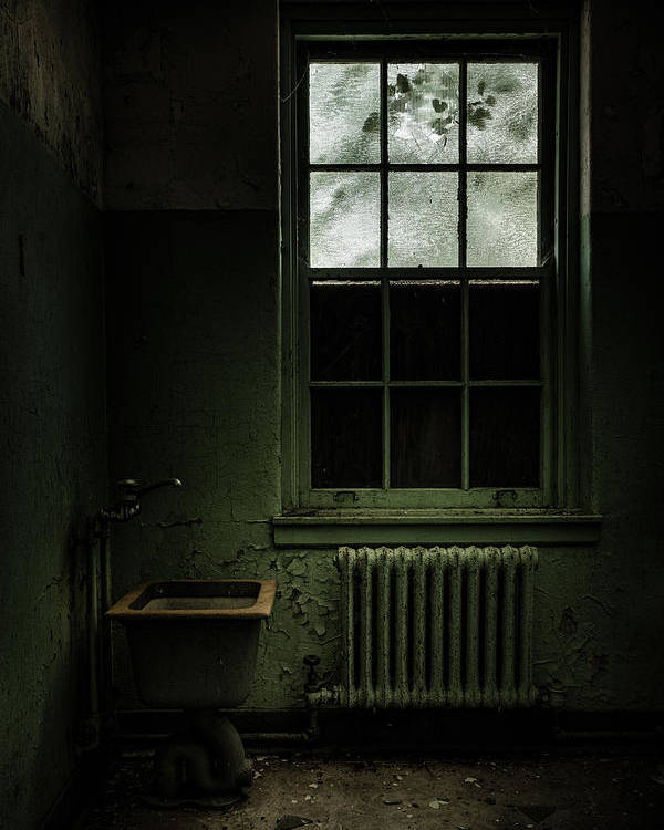 Abandoned Asylum Poster featuring the photograph Old Room - Abandoned Asylum - The Presence Outside by Gary Heller