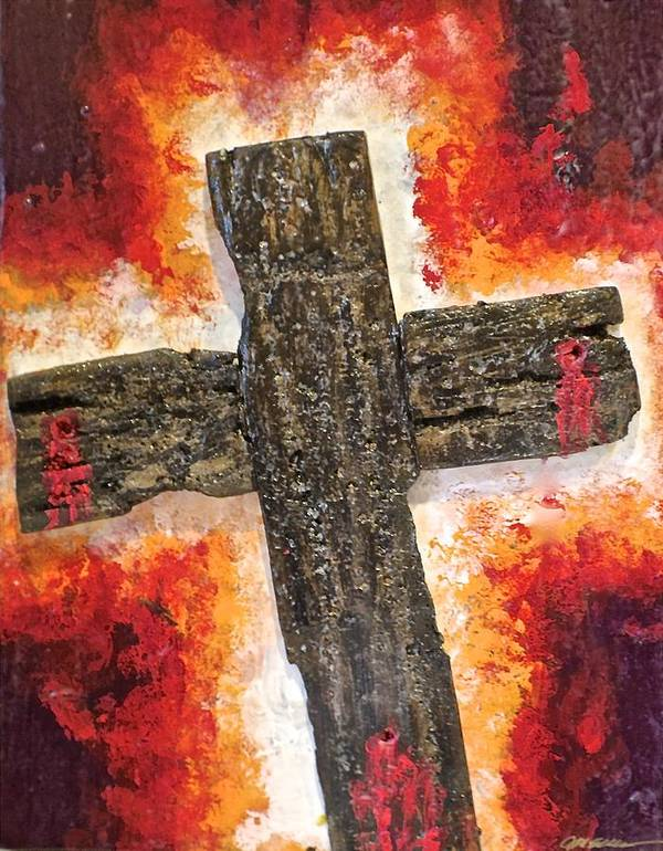 Deep Poster featuring the painting Old Rugged Cross by Jim Ellis