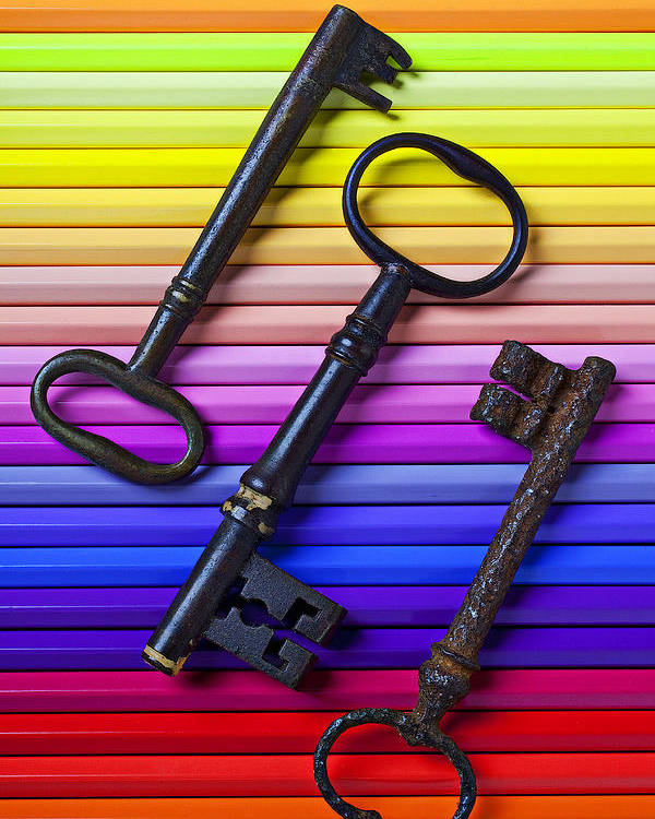 Key Poster featuring the photograph Old Skeleton Keys On Rows Of Colored Pencils by Garry Gay