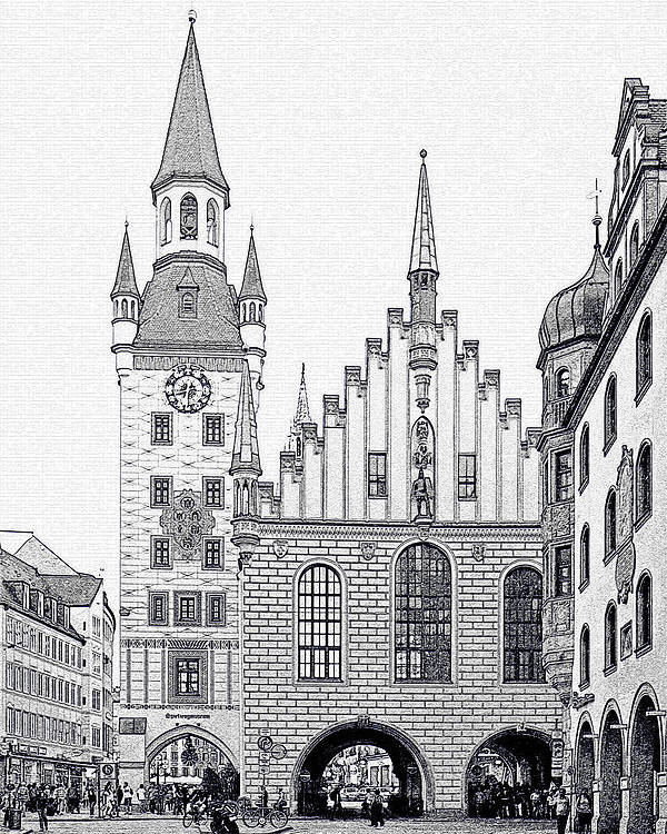 City Poster featuring the photograph Old Town Hall - Munich - Germany by Christine Till
