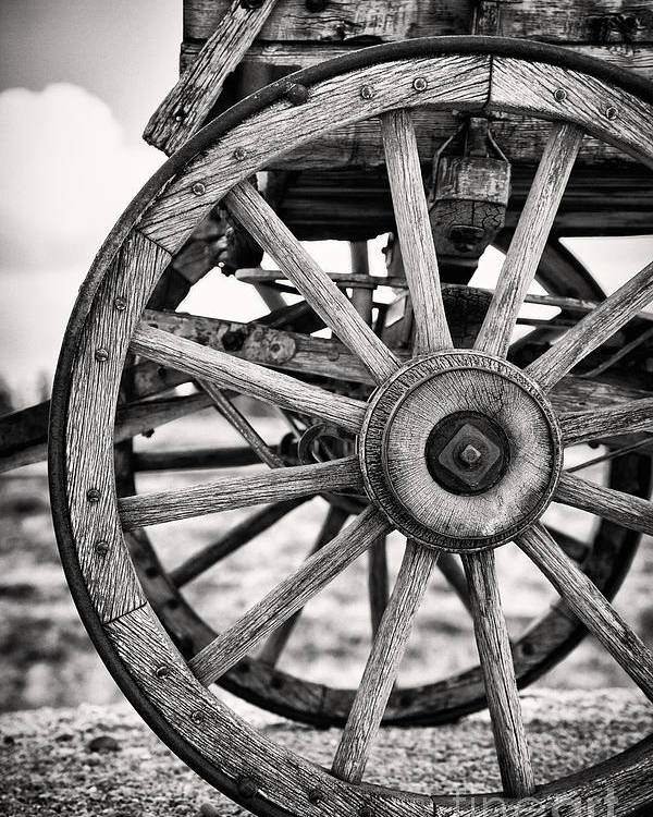 Aged Poster featuring the photograph Old Wagon Wheels by Jane Rix