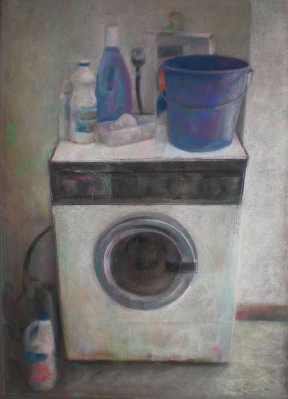 Still Life - Decayed - Memento Mori- Interior- Pastel On Board - Realistic Drawing _ Poster featuring the drawing Old Washing Machine by Paez ANTONIO