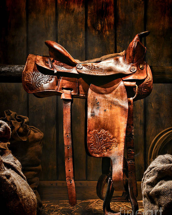 Saddle Poster featuring the photograph Old Western Saddle by Olivier Le Queinec