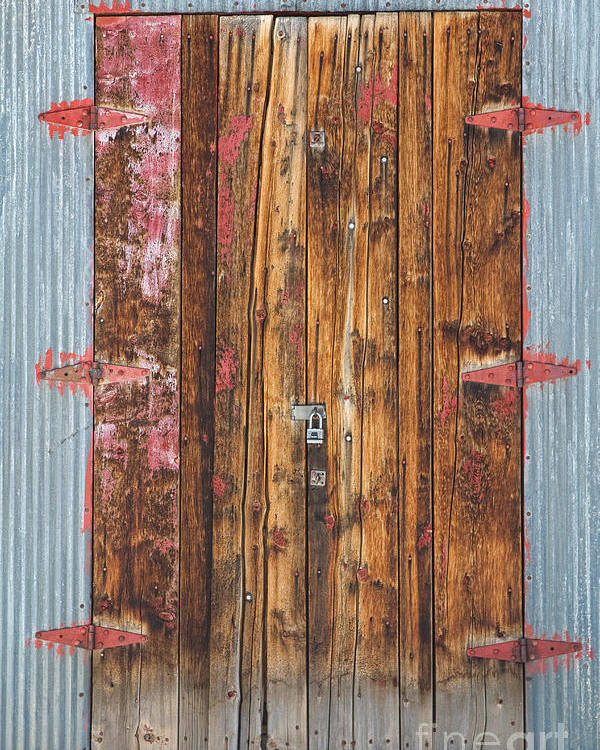 Door Poster featuring the photograph Old Wood Door With Six Red Hinges by James BO Insogna