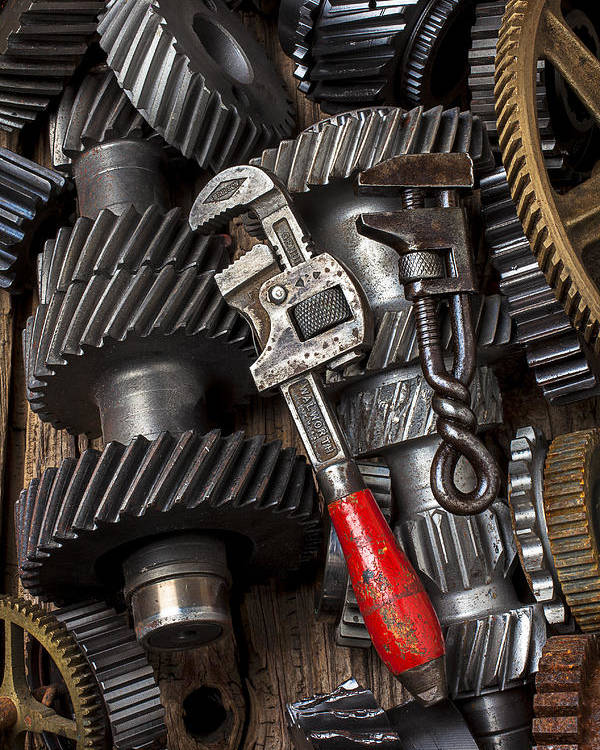 Two Wrenches Poster featuring the photograph Old Wrenches On Gears by Garry Gay