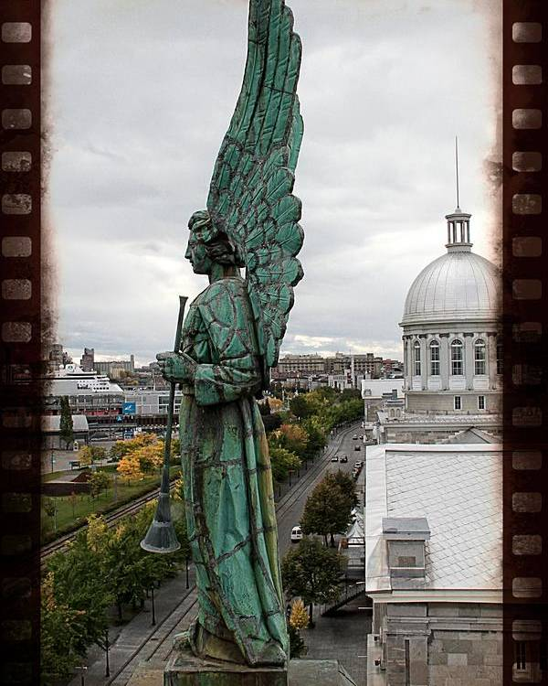 Angel Montreal Statue Filmstrip Effect Canada Poster featuring the photograph Olde Montreal Angel by Alice Gipson