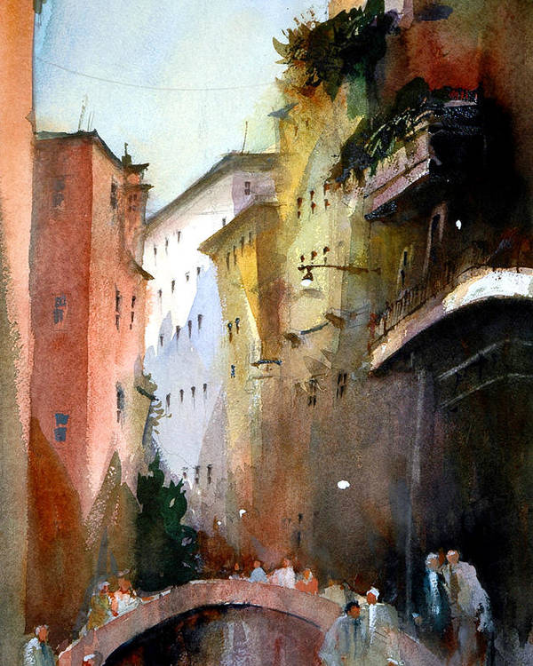 Venice Poster featuring the painting On the Canal - Venice by Charles Rowland