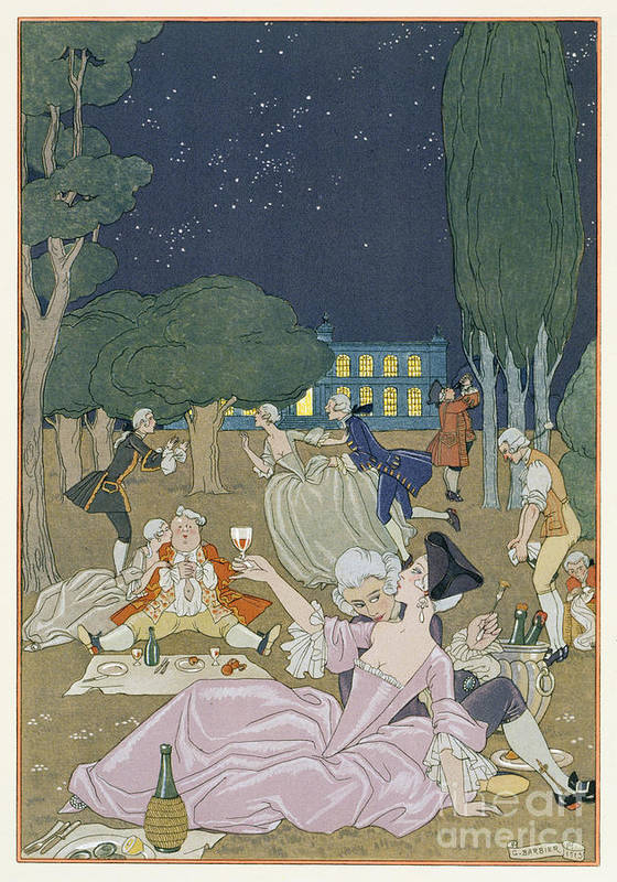 Nocturne Poster featuring the painting On The Lawn by Georges Barbier
