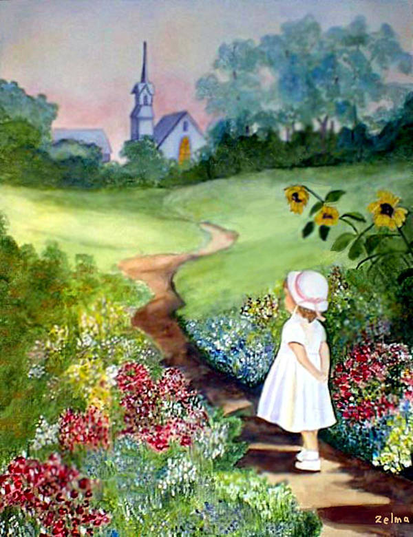 Church Poster featuring the painting On The Way To Church by Zelma Hensel