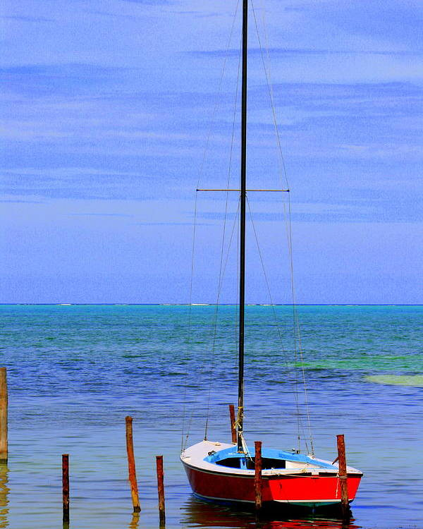 Belize Poster featuring the photograph One Red Boat by Nick Busselman