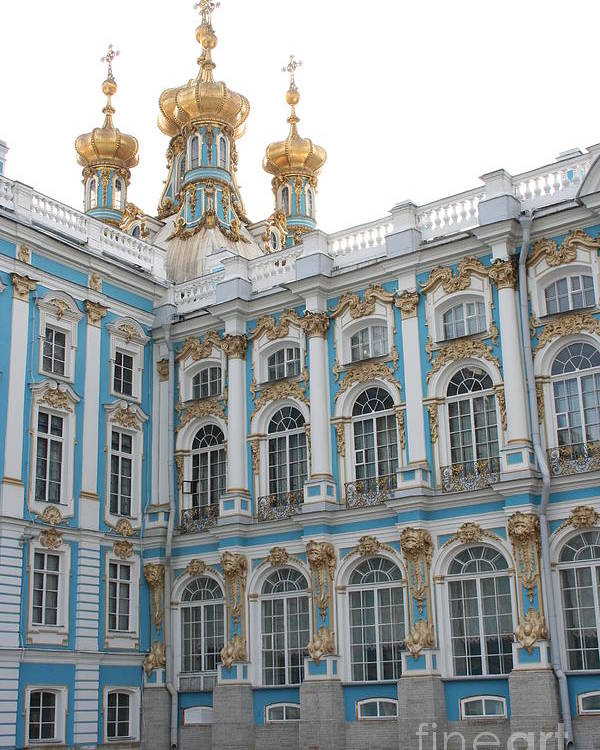 Palace Poster featuring the photograph Onion Domes - Katharinen Palace - Russia by Christiane Schulze Art And Photography