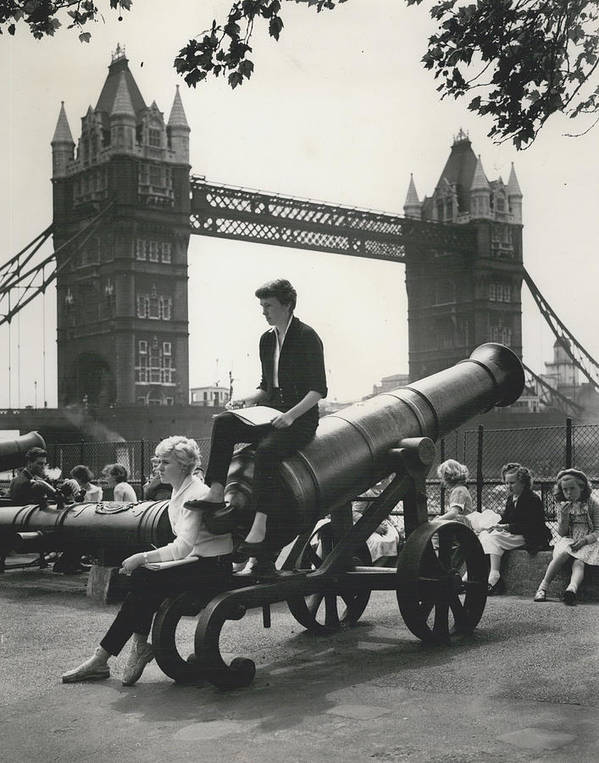 retro Images Archive Poster featuring the photograph Open Air Art Lessons. The Tower Bridge As Background by Retro Images Archive