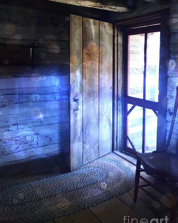 Cabin Poster featuring the photograph Open Cabin Door With Orbs by Jill Battaglia